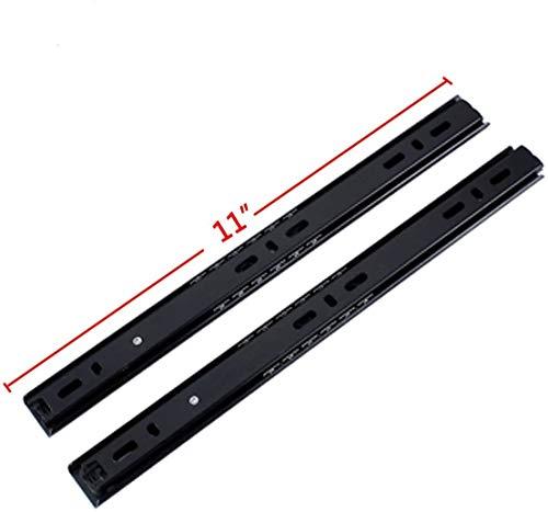 GLE2016 2 Sections Metal Drawer Slide Rail Tracks Ball Bearing Slides Side Mount Type (11 Inch, Black)