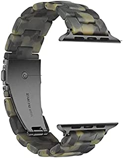 Fashion Resin iWatch Band Bracelet Compatible with Stainless Steel Buckle for Apple Watch Series 6 Series SE Series 5 Seri...