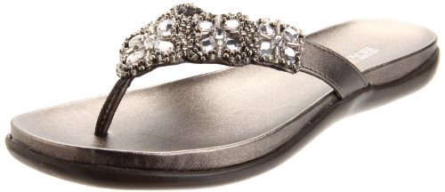 Kenneth Cole REACTION Women's Glam-Athon Thong Sandal, Pewter, 7.5