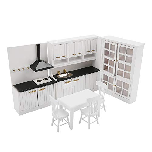 Junluck Accesorio de casa de muñecas Kit de Cocina de casa de muñecas, Kit de Muebles de Cocina, Madera para niños pequeños
