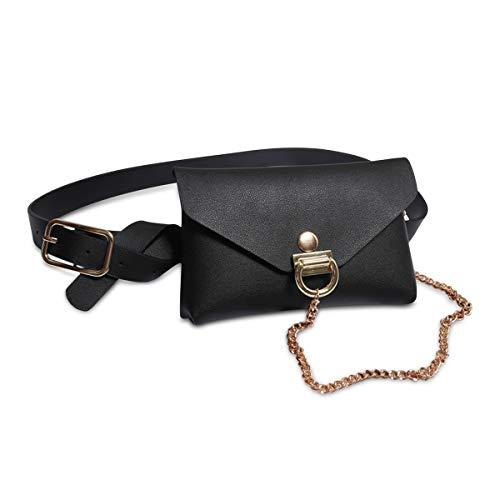 DORRISO Mode Elegant Damen Gürteltasche Leder Bauchtasche Kette Tasche Gestepptes Leder Clutch Bag Brieftasche Gürtel Schwarz