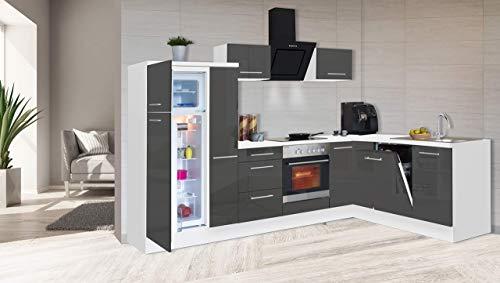 respekta Kuchnia kątowa kuchnia w kształcie litery L kuchnia biała szara wysoki połysk 290 x 200 cm