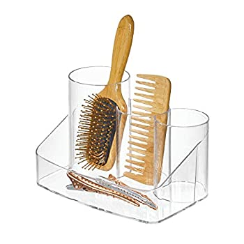 iDesign Clarity Plastic Hair Care Organizer Holder with Divided Compartments for Brushes Combs Sprays Clips Ties Headbands Accessories 8  x 5.5  x 5.5  Styling Center