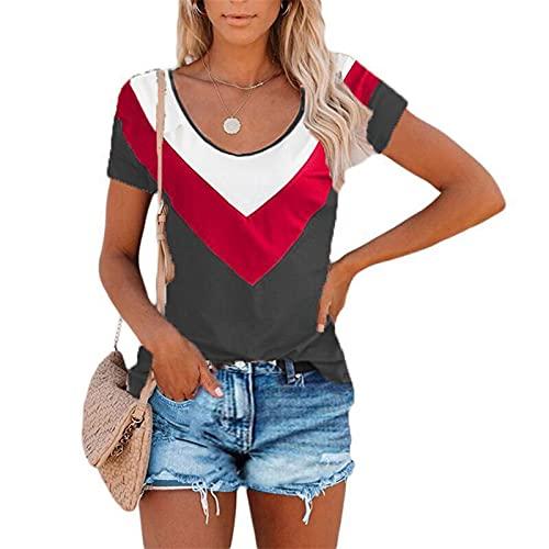 SLYZ Camiseta De Manga Corta para Mujer De Verano, Camiseta De Manga Corta con Cuello Redondo Informal A Juego...