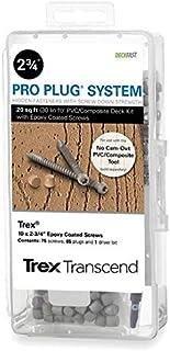 Pro Plug PVC Plugs and Epoxy Screws for Trex Rope Swing Decking, 85 Plugs for 20 sq ft, 75 Epoxy Screws