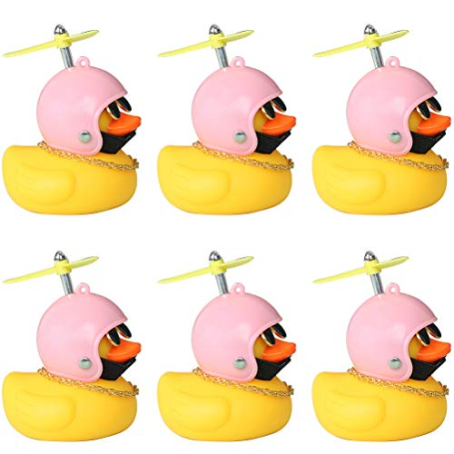 TIANTIAN 6Pcs Rubber Duck Toy Car Ornaments Yellow Duck Squeak Car Dashboard Decorations Cool Glasses Duck with Propeller Helmet Lovely Ornament Toys for Adults Men Women Kids
