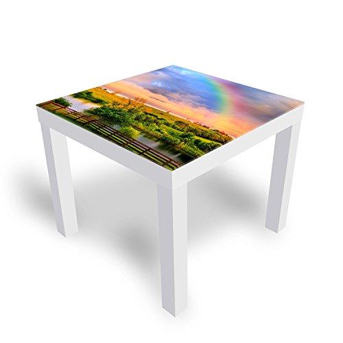 IKEA Lack Beistelltisch Couchtisch 'Countryside Rainbow' Sofatisch mit Motiv Glasplatte Kaffee-Tisch von DEKOGLAS, 55x55x45 cm Weiß
