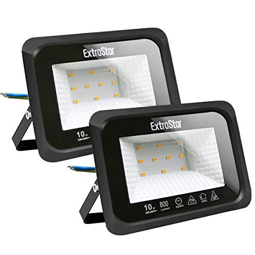 Focos LED exterior 10W Extrastar Potente Luces Led Exterior IP65, Luz de Seguridad Blanca Cálida 3000K para Terraza, Jardín, Patio, Parque, Garaje [Clase de eficiencia energética A+]2 paquetes