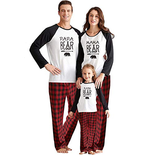 IFFEI Matching Family Pajamas Sets Christmas PJ's with Bear Printed Tee and Plaid Pants Loungewear Women: L
