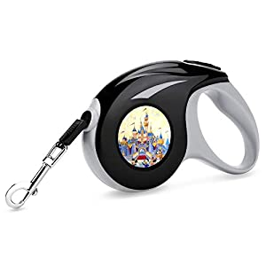 Castle Camera Goofy Art Retractable Dog Leash Small and Medium Duty Pet Walking Leash with Anti Slip Handle One-Handed Brake Pause Lock