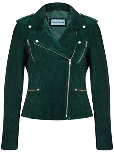Women's Leather Jacket Green Suede Classic Casual Fashion Biker Style 7113-A (16)
