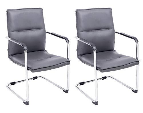 CLP 2er Set Freischwinger Seattle Mit Armlehne I Konferenzstuhl Mit Hochwertiger Polsterung Und Kunstlederbezug, Farbe:grau