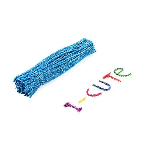 Nuobesty 100 Stück Pfeifenreiniger Chenille Stiele Handwerk Chenille für Basteln Kunst Blume Pflanze Handwerk Dekoration Weihnachten Ornament See Blau Seeblau