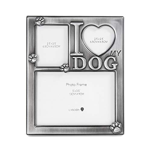 LASODY I Love My Dog Collage Picture Frame Woof Picture Frame Tabletop Frame for Dog-Cherish Every Memory