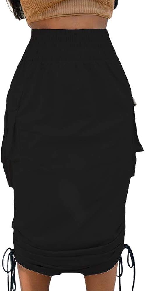 THLAI Women Elastic Waistband Pull On Cargo Skirt with Side Drawstring Midi Skirt