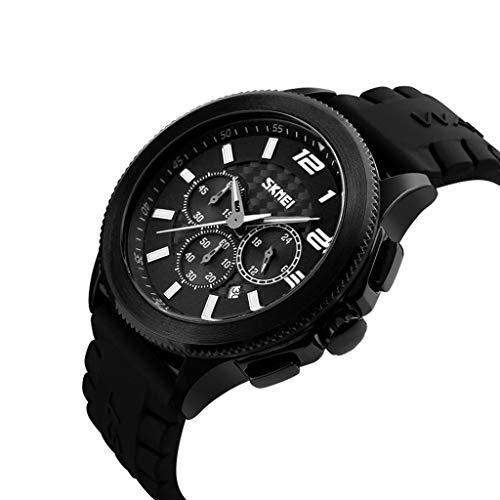 Orologio da uomo Reloj Multifuncional, Moda, Gran cuadrante, Cuarzo, Deportes Juveniles, Impermeable, Negocios, Reloj de Hombre Simple (Color : A)