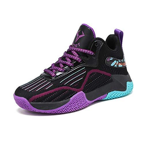 DAYATA Zapatos de baloncesto de estampado de camuflaje para niños Zapatillas de deporte para niños y niñas, color Morado, talla 38 2/3 EU
