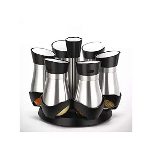 SMEJS Glas rotierende Gewürzglas Gewürzbox Set Barbecue Gewürzflasche Glas Küchensauce Glas Gewürzflasche Salz Sauce
