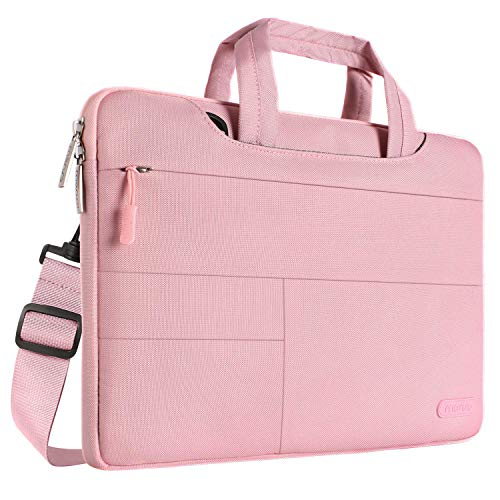 MOSISO Laptop Shoulder Bag Compatible with MacBook Pro 16 inch, 15 15.4 15.6 inch Dell Lenovo HP Asus Acer Samsung Sony Chromebook, Polyester Briefcase Sleeve with Front Storage Pockets, Rose Quartz