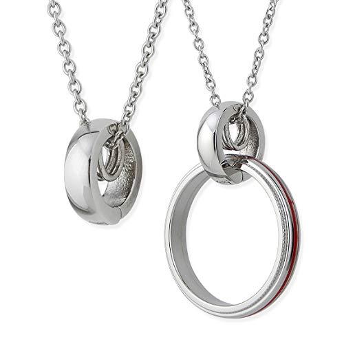 ネックレス ステンレス シンプル リングホルダー リング 指輪をネックレスにする サージカルステンレス シルバー あずきチェーン55cm