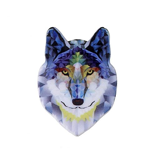 Animal Heads Acrylic Brooches Pins Punk Rock Vintage Wolf Fox Cat Lion Tiger Vivid Natural Animal Heads Fashion Lapel Pin Gifts-1