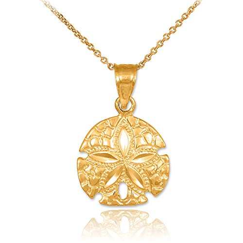 10k Yellow Gold Polished Sea Star Charm Sand Dollar Pendant Necklace, 20'