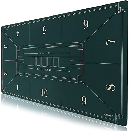 SLOWPLAY Tapete de Póker para Texas Hold'em Nash, 180x90cm. Tapete Portátil para Mesa de Póker con Diseño Art Deco. Superficie Liso Alfombrilla de póker. Y Tubo de Transporte (Verde)