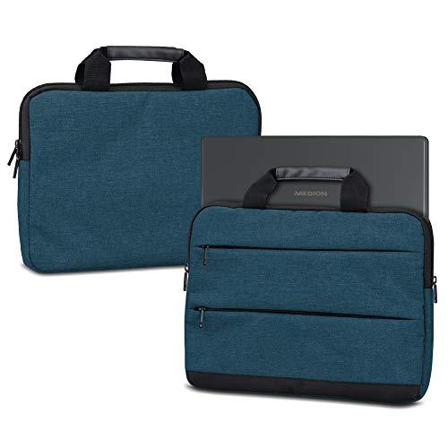 NAUC Laptoptasche Hülle für Medion Akoya S6446 S6445 Schutzhülle Sleeve Tasche Tragetasche mit Griffen & Zubehörtaschen Schutz Case 15.6 Zoll Cover, Farbe:Blau