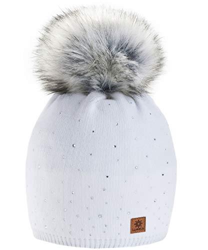 morefaz Winter Cappello Cristallo più Grande Pelliccia Pom Pom Invernale di Lana Berretto delle Signore delle Donne Beanie Hat Pera Sci Snowboard di Moda MFAZ Ltd (White)