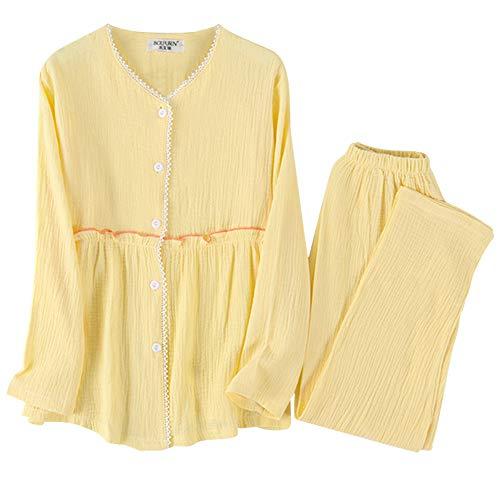 Hotvivid パジャマ レディース 長袖 綿100% ルームウェア 二重ガーゼパジャマ 上下セット 肌に優しい 入院 産後 部屋着
