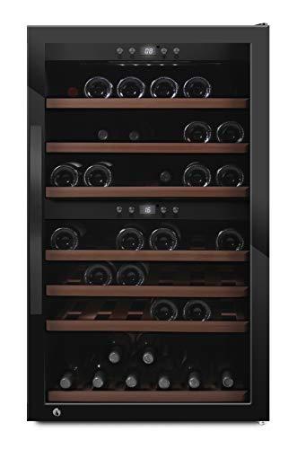 mQuvee Weinkühlschrank Freistehend WineExpert 66 Fullglass Black, Platz für bis zu 66 Flaschen, 2 Temperaturzonen 5-20°C, Höhe 104 cm