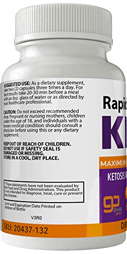 Rapid Burn Keto Diet Pills Advanced Energy Ketones with Go BHB Capsules Ketones Ketogenic Supplement for Weight Loss Pills 60 Capsules 800 MG GO BHB Salts to Help Your Body Enter Ketosis More Quickly 3