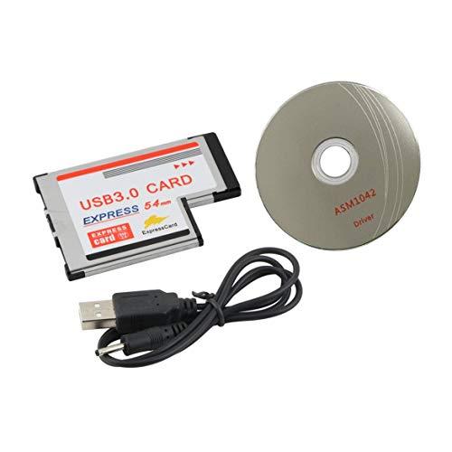 Bellaluee Express-Schnittstelle zur USB3.0-Karte 54 mm, Silberne Farbe 54 mm Express USB 3.0 PCMCIA 2-Port-Kartenadapter Übertragungsrate bis zu 5 Gbit/s 1,5/12/480 Mbit/s