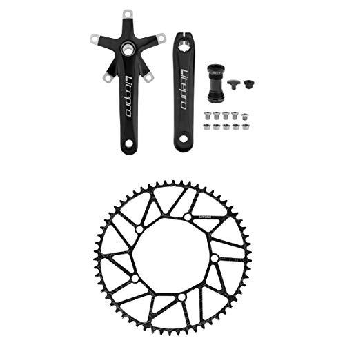 perfeclan Juego de Bielas de Bicicleta BCD 130 Juego de Bielas 58T Y Soporte Inferior Negro