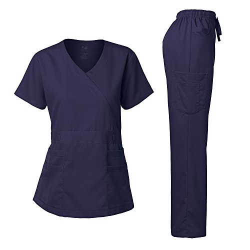 Women's Scrubs Set Stretch Ultra Soft Y-Neck Wrap Top and Pants Navy XS