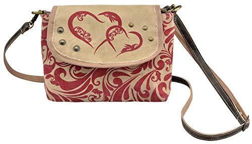 Domelo Damen kleine rot beige Tasche Umhängetasche eckig Mädchen Crossbody Dirndltasche Trachtentasche Canvastasche Frauentasche Handtasche Oktoberfest Tasche klein