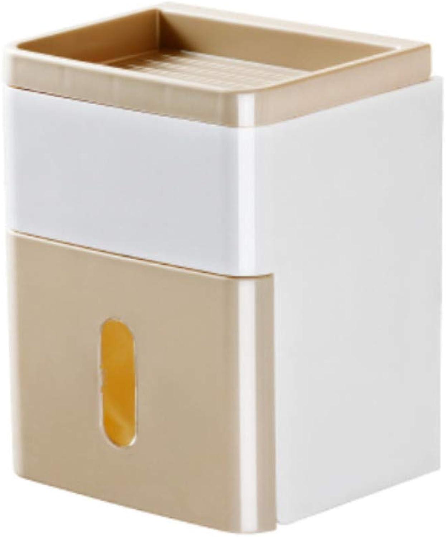 Pmrioe Toilettenpapier-Behälterhandpapierhandtuchhalter des Badezimmergewebekasten-WCs wasserdichter kreativer Behälterpapierrollen-Papierschlauch - khaki B07M6N8RX5