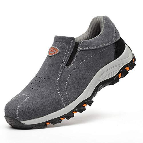 xiaozhu Zapatos de Acero Punta Seguridad,Calzado de Seguridad para Hombres Anti-Rotura y Anti-pinchazos Puntera de Acero Calzado de Trabajo de Soldadura eléctrica Transpirable-Gris_44