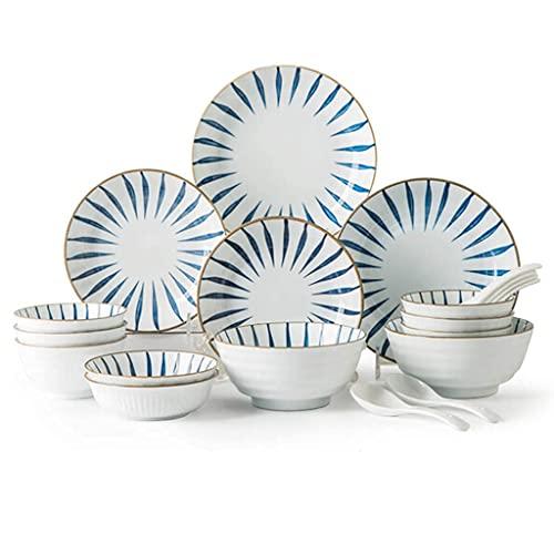 CCAN Juegos de vajilla de cerámica, Plato/Cuenco/Plato | Patrón Pintado a Mano de Estilo japonés Juego de combinación de vajilla de Porcelana de 20 Piezas - Restaurante de Fiesta Familiar
