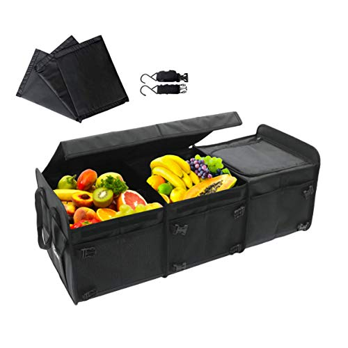 Tuff Viking Trunk Organizer | Car Truck Organizers and Cargo Storage for SUV Auto Minivan Jeep accessory with Tie Down Straps 6in1 Built in Cooler w/Cover Black