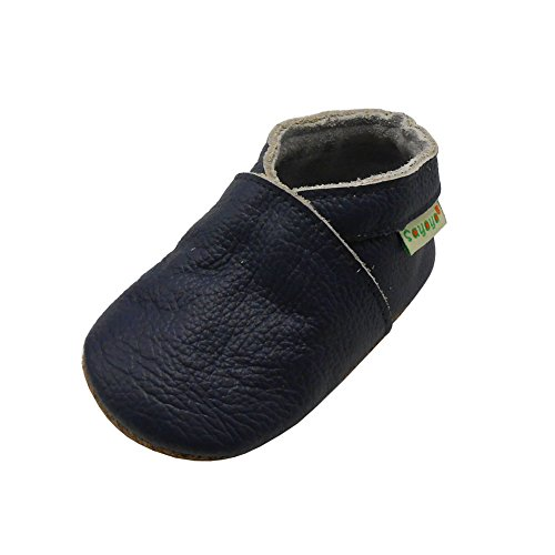SAYOYO Baby Soft Sole Prewalkers Skid-Resistant Baby Toddler Shoes Cowhide Shoes (6-12 Months, Navy Blue)
