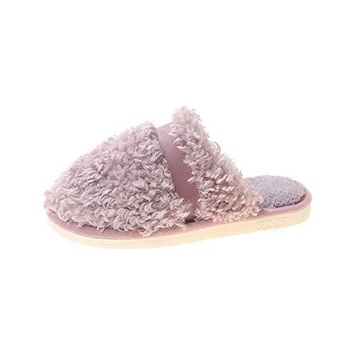 N/W Botas para Hombre, Zapatillas Baotou para Mujer de otoño e Invierno, Zapatillas de algodón de tacón Plano para Pareja-Purple_38