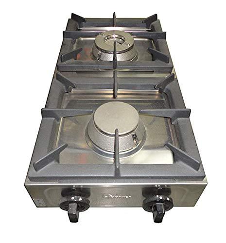 Parker Cucina Fornello professionale industriale 2 fuochi in acciaio inox 18/10 - funzionante a gas universale - con valvola di sicurezza e fiamma pilota - Made in Italy