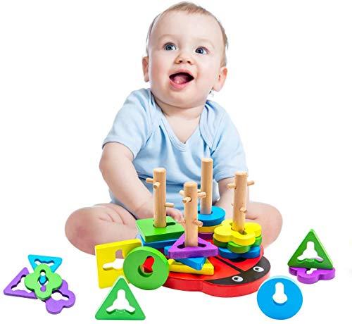 Let's Make Montessori-Spielzeug für Kleinkinder, Kleinkind-Puzzles / Formsortier- und Stapelspielzeug für frühkindliche hölzerne Babyspielzeuge für 13 Monate + Jungen und Mädchen