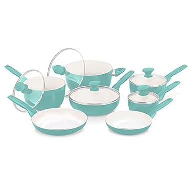 GreenPan Rio 12pc Ceramic Non-Stick Cookware Set, Turquoise