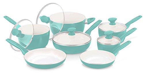 GreenPan Rio – Juego de utensilios de cerámica antiadherente de 12 piezas, color borgoña, Turquoise,…