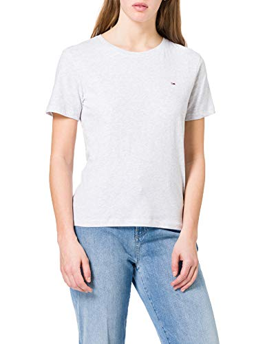 Tommy Jeans Tjw Soft Jersey tee Camiseta, Gris (Silver Grey Htr), M para Mujer