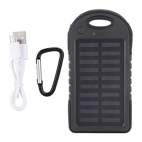 Powerbank, 10000mAh draagbare zonnelader, dubbele USB externe batterij Power Bank, stabiel en efficiënt, met LED-licht (zwart)