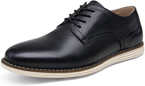 JOUSEN Men's Dress Shoes Leather Casual Oxford Shoes Brogue Business Formal Shoes (10.5,Black)