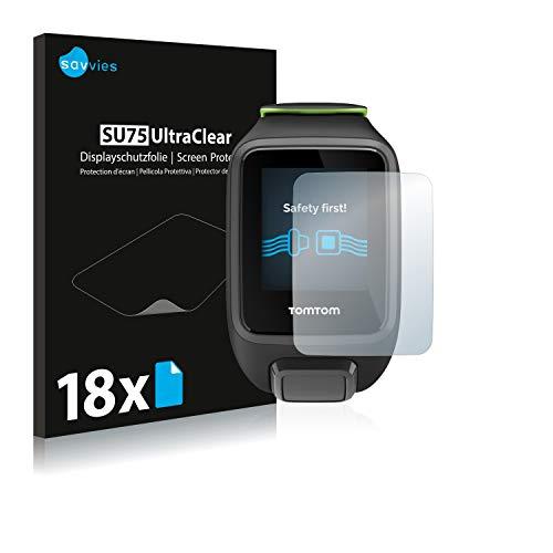 Savvies 18x Schutzfolie kompatibel mit Tomtom Runner 3 Music Bildschirmschutz-Folie Ultra-transparent